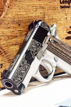 Awesome Kimber Pistols For Ideas On Your Next Gun How sick is the scroll work on the slide? Love this Kimber Concealed Carry Weapons, Weapons Guns, Guns And Ammo, Rifles, Pink Guns, Pocket Pistol, Armas Ninja, 1911 Pistol, Firearms