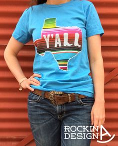 Serape print Texas with the word Yall with cowboy boots graphic t-shirt.  Printed