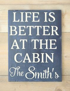 Cabin Signs with Sayings | Cabin Sign Personalized Family Name Wooden Signs River Mountain Lake ...