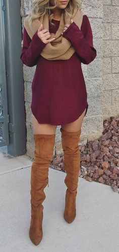 outfit inspiration: maroon dress + brown over the knee boots + knit scarf