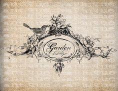 Antique French France Shop Label Bird Garden Diva Digital Download for Papercrafts, Transfer, Pillows, etc Burlap No 5497. $1.00, via Etsy.