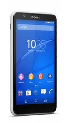 Sony Xperia E4 Android KitKat smartphone. Features 3G, 5.0 inches, 5 MP camera, compass, Stereo FM radio with RDS, Games.
