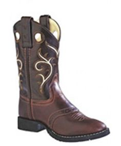 Old West Round Toe Boots: Brown/Dark Brown - SPECIAL ORDER - Small in the Saddle