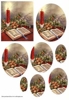 Traditional Christmas Theme on Craftsuprint designed by Susan Donaghie - A bright red candle lends a festive glow to fir cones, holly Christmas Decoupage, Christmas Candles, Christmas Paper, Christmas Pictures, Christmas Crafts, 3d Cards, Xmas Cards, Christmas Traditions, Christmas Themes