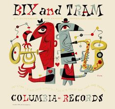 """Bix and Tram, a limited-edition (25) fine art print featuring one of artist Jim Flora's earliest illustrated album covers. Part of the Columbia Records """"hot jazz"""" series, the sleeve first hit music shop shelves in 1947. The caricatures depict two legendary and highly influential jazz musicians from the 1920s, cornetist Leon """"Bix"""" Beiderbecke and saxophonist Frankie Trumbauer."""