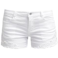 ONLY ONLCARRIE Denim shorts (34 CAD) found on Polyvore featuring shorts, bottoms, pants, short, white, denim short shorts, white jean shorts, white shorts, patterned shorts and zipper shorts
