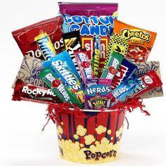 Junk Food Junky Snacks and Candy Bouquet Gift Basket - http://mygourmetgifts.com/junk-food-junky-snacks-and-candy-bouquet-gift-basket/