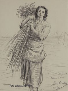 Esquisse de glaneuse, par Jules Breton