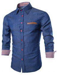 Trendy Slimming Turn-down Collar Long Sleeves Floral Print Splicing Cotton Blend Shirt For Men (WHITE,M)   Sammydress.com Mobile