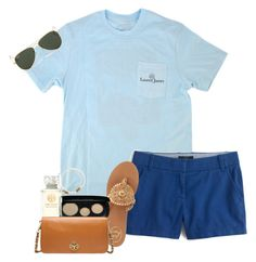 """""""I feel blue"""" by sydneymellark ❤ liked on Polyvore featuring J.Crew, Jack Rogers, Marc Jacobs, Tory Burch, Me to We, Ray-Ban and simplyspring"""