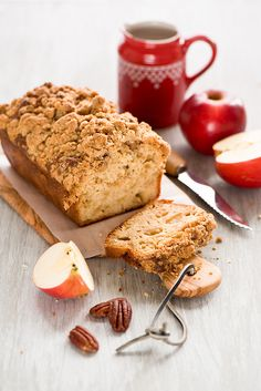 Wonderfully crumb topped Apple Pecan Loaf Cake