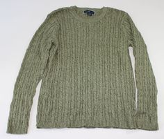 Karen Scott Womens Sweater Size L Green Crewneck Cable Knit Long Sleeve  #KarenScott #Crewneck