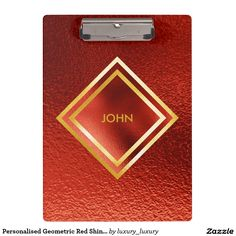 Personalised Geometric Red Shiny Clipboard