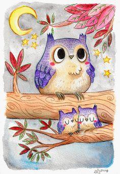 Ellen Stubbings Owl Illustration Pinned by www.myowlbarn.com