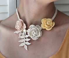 Crocheted Roses Necklace  Faded Beauty by mygiantstrawberry,