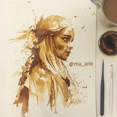 I Use Coffee To Draw Detailed Paintings Of My Favourite Characters | Bored Panda