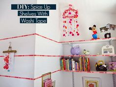 Love this super easy DIY for jazzing up shelves with Washi Tape via The Design Itch