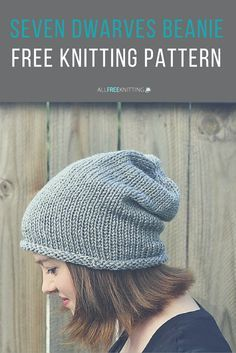 Free knitting pattern: Seven Dwarves Beanie. This adorable slouch hat is easy enough for beginners to tackle.