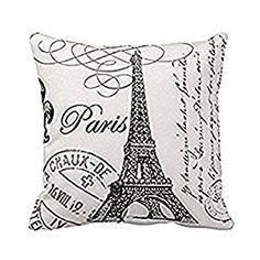Amazon.com: Paris Eiffel Tower Stamp Square Custom Throw Pillow Case, 18 X 18-Inch: Home & Kitchen