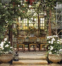 Rustic, rambling and refined country chic - The Enchanted Home---Divine, rustic and refined. The perfect blend Outdoor Rooms, Outdoor Dining, Outdoor Gardens, Outdoor Decor, Dining Area, Outdoor Seating, Patio Dining, Outdoor Retreat, Outdoor Planters