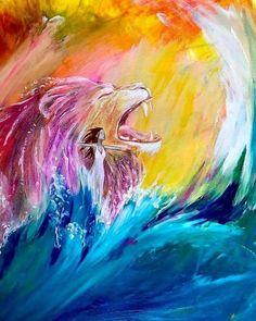 Christian Paintings, Christian Art, Library Room, Prophetic Art, Lion Of Judah, Lions, Waves, Outdoor, Ha