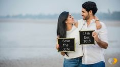 Save the date photo shoot dressed in a white shirt and cut-out top and jeans for an outdoor beach side photoshoot. Pre Wedding Videos, Pre Wedding Poses, Wedding Couple Poses Photography, Pre Wedding Shoot Ideas, Pre Wedding Photoshoot, Wedding Couples, Prewedding Photoshoot Ideas, Photography Props, Dress Wedding