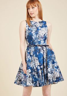 Luck Be a Lady A-Line Dress in Blue Garden in 8 (UK), #ModCloth