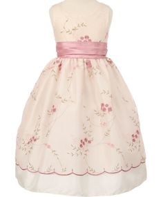 Lena - Rose Embroidered Flower Girl DressStyle CC1089-11 Flower Embroidered Dress in Garden Rose This is a fully lined, sleeveless, scalloped embroidered border.  The apron style is attached to the dress and not removable.