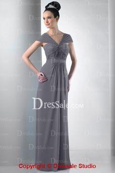 Unique Capped Sleeve Sweetheart Long Column Dress