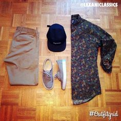 Today's top #outfitgrid is by @lexaniclassics. #Dockers #Chinos, #Supreme #5Panel #Cap, #Alife #Sneakers, and a #Floral #Gap #ButtonDown. Simple, but effective.