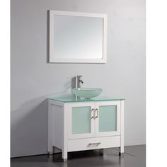 Tempered Glass Top White 36-inch Vessel Sink Bathroom Vanity with Matching Frame