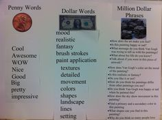 How to Talk to Kids About Art - Penny Words, Dollar Words and Million Dollar Phrases. Handy chart to help facilitate art conversation.