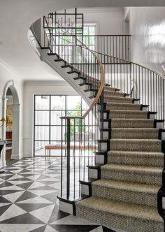 Elegant floating staircase made crafted by ——————————————————— Built by: ——————————————————— Foyer Staircase, Floating Staircase, Entry Foyer, Custom Home Builders, Custom Homes, Construction Group, Highland Homes, House Stairs, Residential Architecture