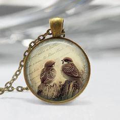 Bird Pendant  Glass Pendant Picture Pendant by ThePendantQueen