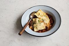 ricotta ravioli, beef, tomatoes