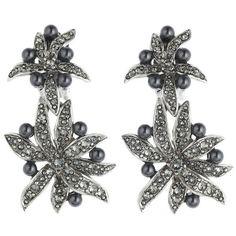 Oscar de la Renta Black Diamond Flower Pearl Drop Earrings ($390) ❤ liked on Polyvore featuring jewelry, earrings, flower earrings, clip earrings, white pearl drop earrings, clip on earrings and long earrings