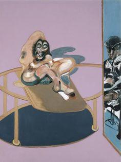 Page : Study of Nude with Figure in a Mirror / Artist : Francis Bacon / Date : 1969 / 일반적으로 거울에는 그림 내에 존재하는 것을 비추기 마련인데, 이는 작품의 틀 너머의 인물을 비추어 독특하다.    거울 안의 모습과 거울 밖의 모습은 대비가 된다. 밖의 여성은 옷을 입지 않은 반면, 거울 안의 남성은 옷을 입고 있고, 배경색도 상이하다.