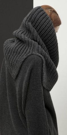 """Heavy-gauge knit blended from Italian alpaca yarns composes a substantial snood perfect for throwing over your favorite dress, jacket or tee no matter what the weather throws at you. A partially split """"chunky"""" Cowl Scarf, Knitting Accessories, Knit Fashion, Fashion 101, Loom Knitting, Sweater Weather, Knitting Projects, Knitwear, Knitting Patterns"""