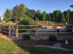 Finally a beautiful sunny day to install this cedar round rail pool code fence installed by Skip & his crew from Swimming Pool Pictures, Swimming Pools, Fence Styles, Pool Fence, Garden Bridge, Sunny Days, Outdoor Structures, Wood, Beautiful
