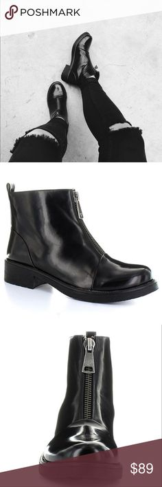 "Black Zipper Rugged Boyfriend Creeper Boot Black Color  Width B(M) Vegan Leather Upper Material Thermo Plastic Rubber Outsole Material Round Toe Toe  2"" Heel Height 4.75"" Shaft Height 10"" Circumference Urban Outfitters Shoes Ankle Boots & Booties"