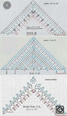 Discover Art inspiration, ideas, styles - Her Crochet Crochet Triangle, Crochet Motifs, Crochet Diagram, Crochet Chart, Crochet Stitch, Crochet Lace, Free Crochet, Shawl Patterns, Knitting Patterns