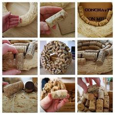 Attach corks all over a straw wreath using hot glue. Start with a flat layer, then add some slanted corks on top. Check out this blog post for all the details.
