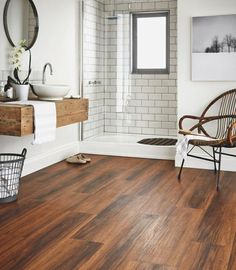 bathroom with modern wood porcelain tile                                                                                                                                                                                 More
