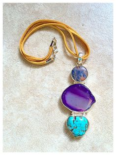 Tan Deerskin Leather Double Cord Necklace with Navy by SunBearArts