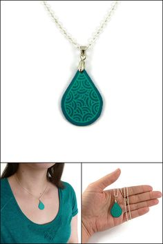 Turquoise blue drop necklace with aqua green doodles, modern and minimalist raindrop pendant, plastic fancy droplet necklace (recycled CD) - Made on order by @savousepate on Etsy - pinned by pin4etsy.com