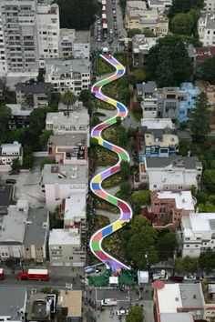San Francisco Lombard Street was turned into a gigantic version of the game Candy Land. Celebrating its 60th anniversary, 575 feet of switchbacks in the Russian Hill neighborhood were transformed into the famous board. Kids from the UC San Francisco Children's Hospital and Friends of the Children pulled from an oversized deck of color-coated cards and then advanced through the squares of purple, red, blue, orange, green and yellow...