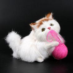 Hilados de lana de gato de juguete mascota meowth niños animales gatos modelo de juguetes de felpa adornos regalos de cumpleaños muñecas animal Mascota Electrónica juguete
