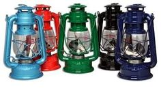 Large Railroad Lantern - 9.5 in. tall metal and glass kerosene lantern with adjustable wick. Assorted colors: red green navy blue light blue and black. Please note: This product is NOT A TOY.
