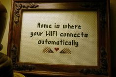WIFI cross stitch by TwoHungryBlackbirds, via Flickr. lol