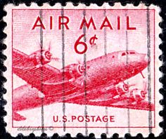 USA. Type of 1947. DC-4 Skymaster. Scott C39 AP19, Issued 1949 Jan. 18, Perf. 10 1/2x11, 6c. /ldb.